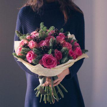 зимний букет из роз