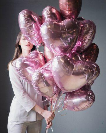 шары сердца розовые
